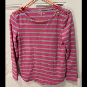 💥Talbots pink gray striped top;gold zipper accent